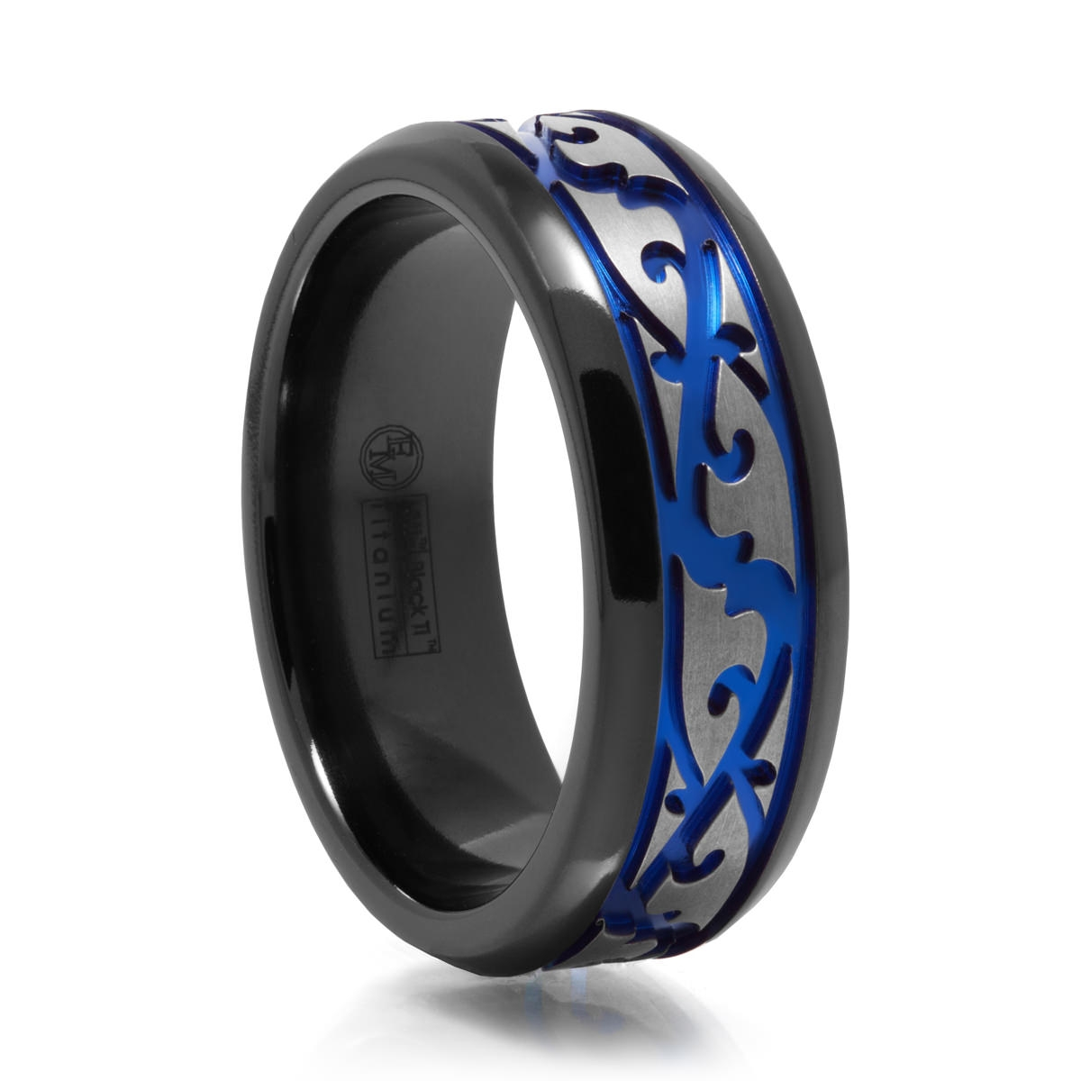 Men's Paisley Design Black Titanium Ring W/ Blue Groove Within Blue Line Wedding Bands (View 6 of 15)