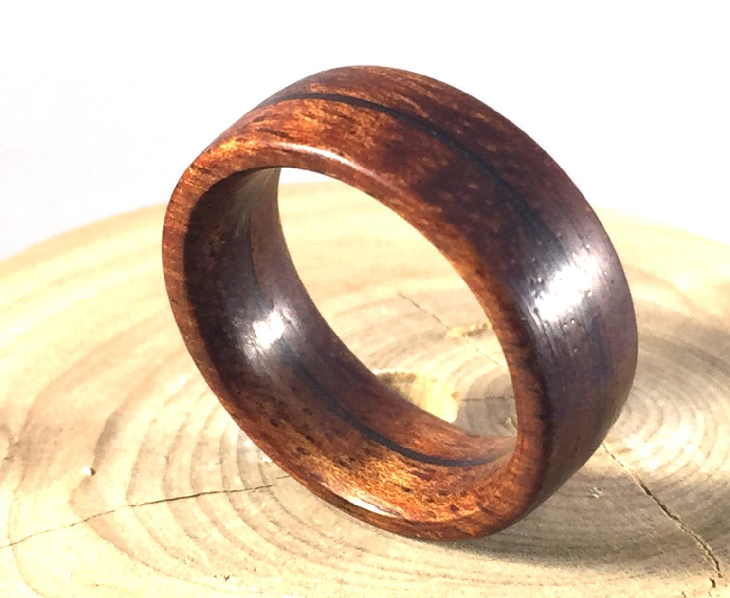 Mens Ring Wooden Ring Mens Wood Ringwood Ring Koa Wood Within Wood And Metal Wedding Bands (View 5 of 15)
