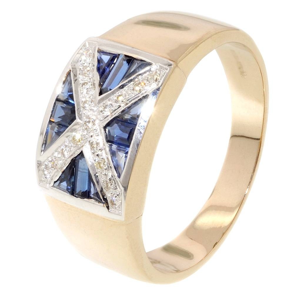 Men's Sapphire & Diamond Scotland Flag Ring – Jewellery World Intended For Scottish Engagement Rings (View 4 of 15)