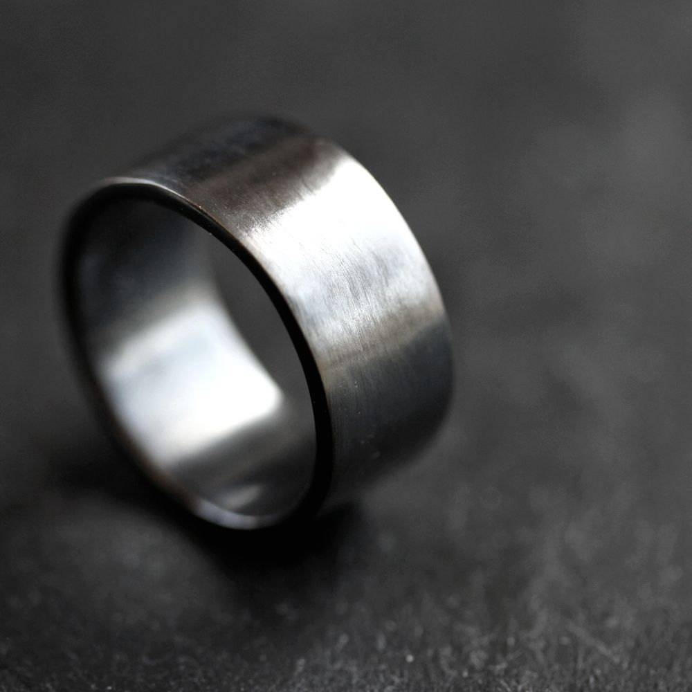 Men's Silver Wedding Band 10Mm Wide Simple Flat Band With Regard To 10Mm Men's Wedding Bands (View 12 of 15)