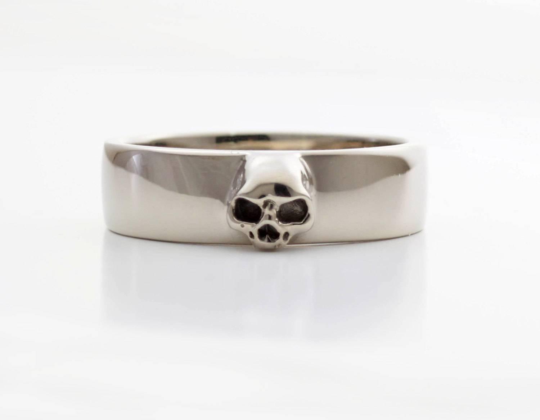 Mens Skull Wedding Ring White Gold Grooms Skull Ring Goth In Men's Skull Wedding Bands (View 12 of 15)