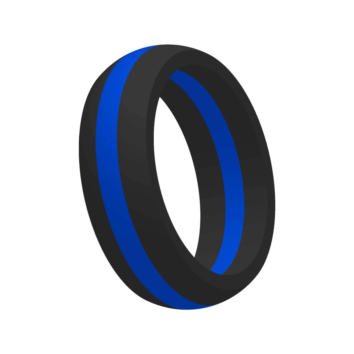 Men's Thin Blue Line Silicone Wedding Band Ring Flexible For Thin Blue Line Wedding Bands (View 8 of 15)