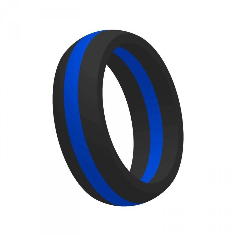 Men's Thin Blue Line Silicone Wedding Band Ring Flexible Medical Inside Military Wedding Bands (View 5 of 15)