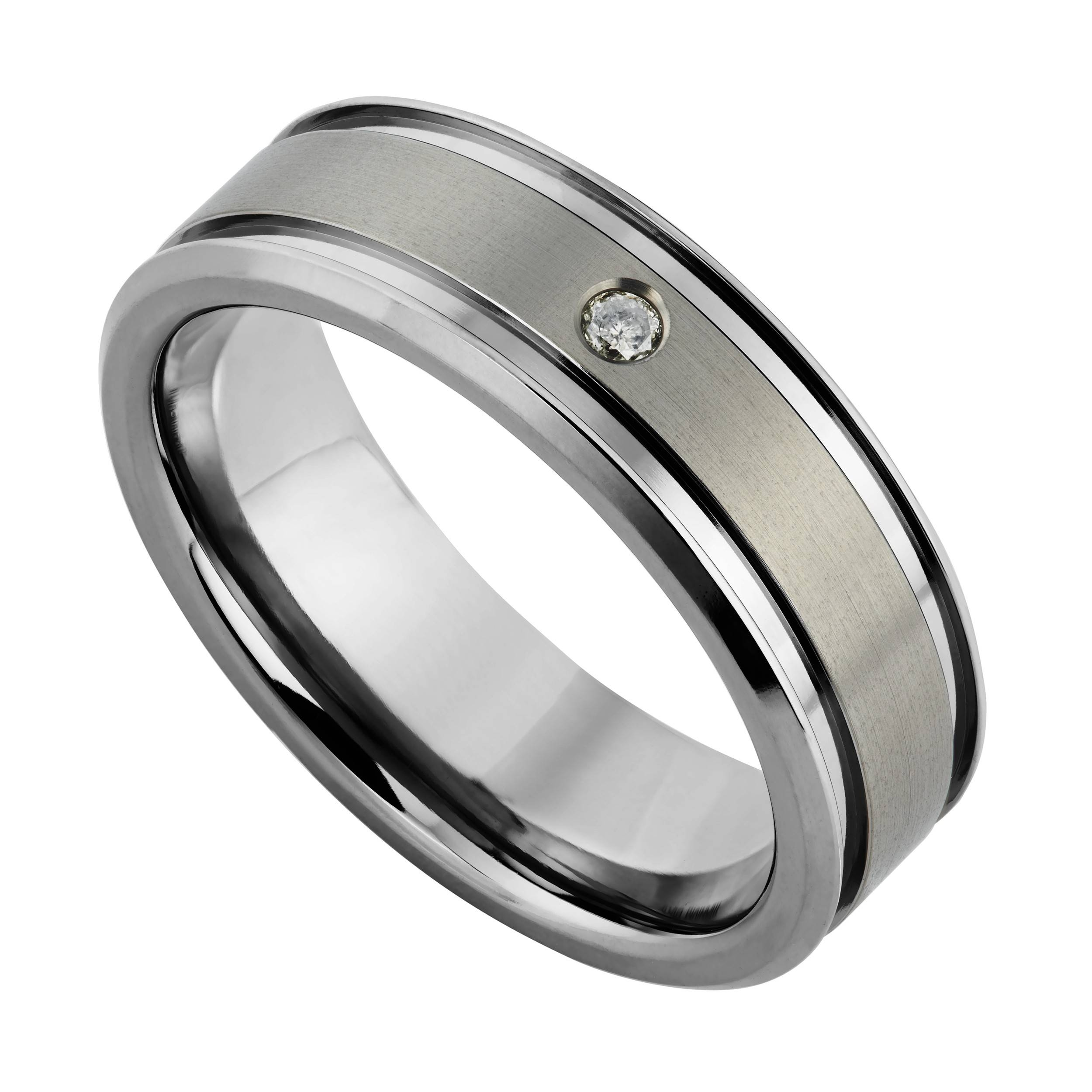 Men's Titanium 7mm Diamond Set Ring Intended For Black Titanium Wedding Bands For Men (View 12 of 15)