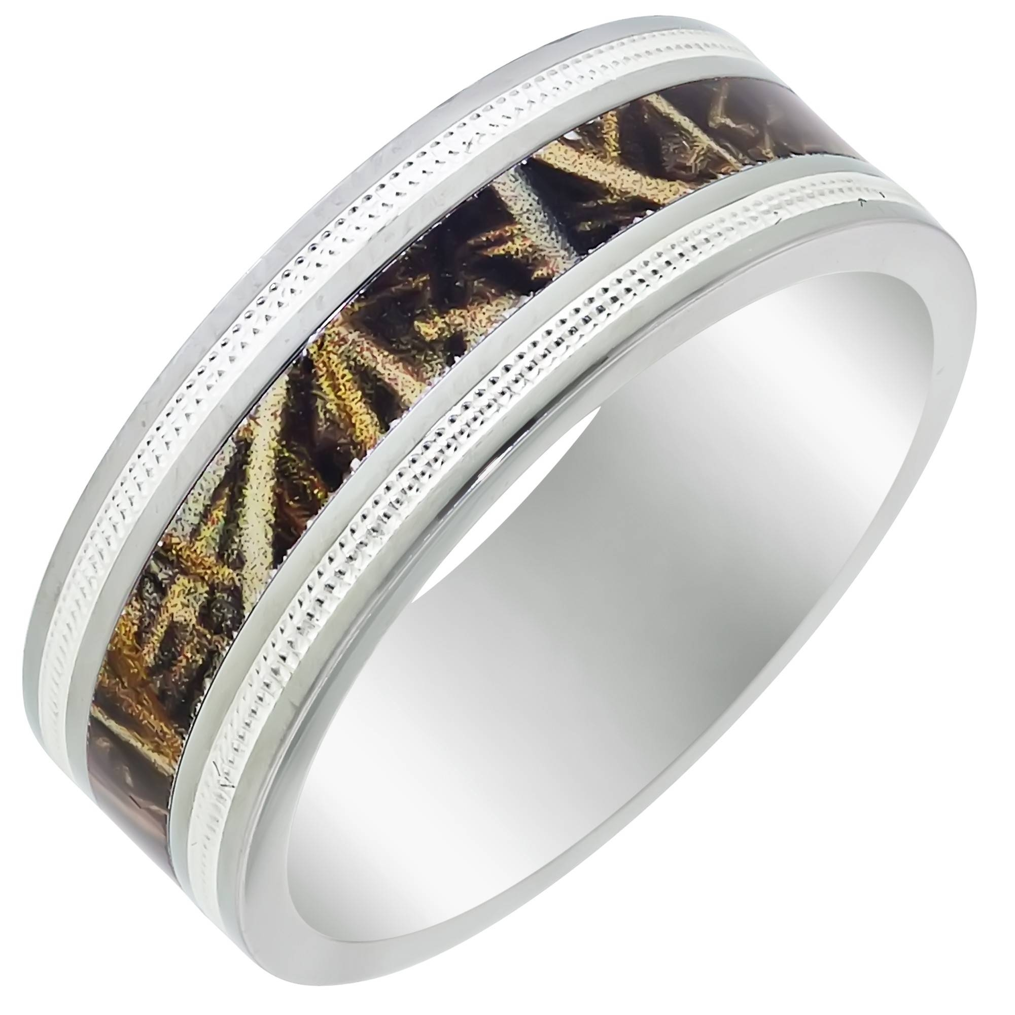 Mens Titanium Camo Wedding Band With Beaded Edge (8mm) Regarding Mens Camouflage Wedding Bands (View 5 of 15)