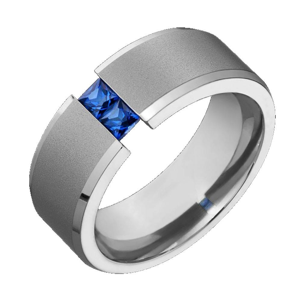 Mens Titanium Wedding Band Blue Sapphire Tension Set Comfort Fit Intended For Black Titanium Wedding Bands For Men (View 13 of 15)