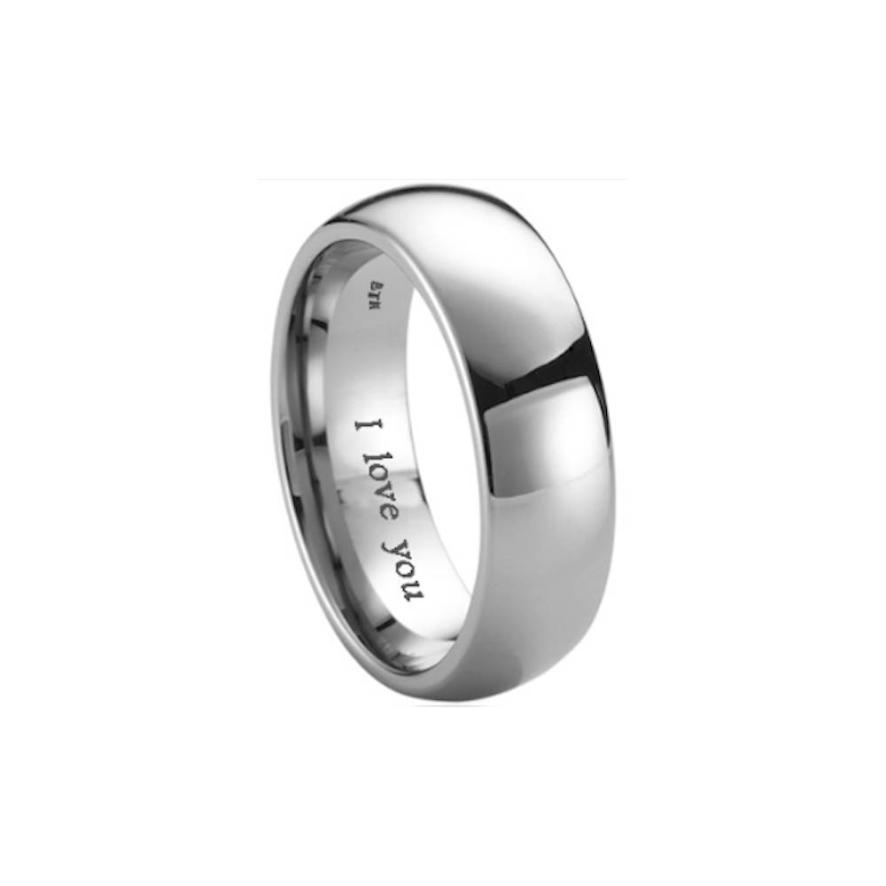 Mens Titanium Wedding Engagement Engraved With I Love You Band Within Unisex Engagement Rings (View 14 of 15)