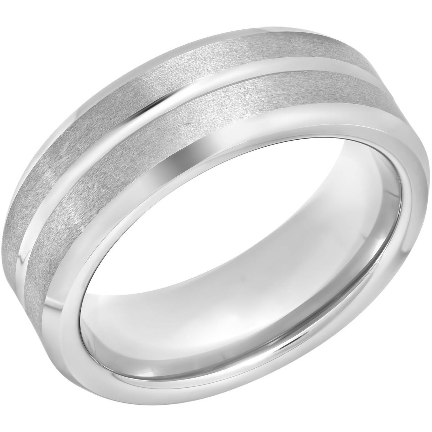 Men's Tungsten 8Mm Satin And High Polish Grooved Wedding Band Inside Walmart Men's Wedding Bands (View 7 of 15)