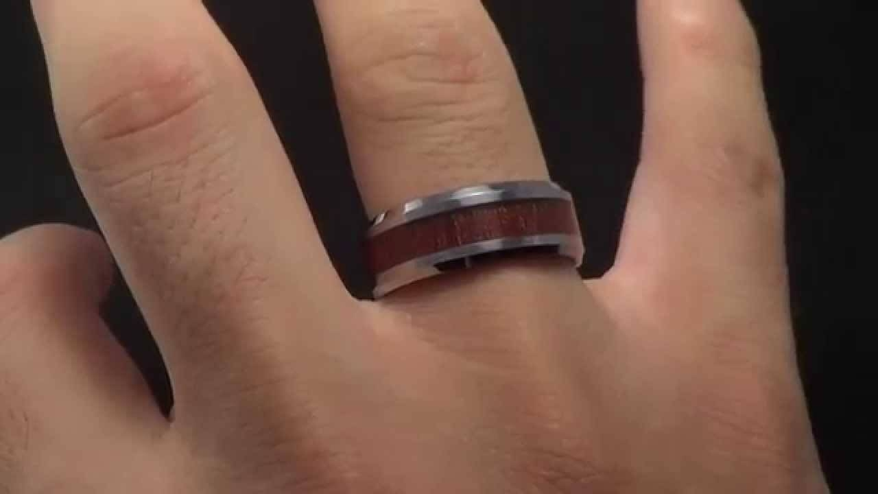Men's Tungsten Alloy Wood Inlay Ring | Selectmensjewelry – Youtube Regarding Tungsten Wedding Bands With Wood Inlay (View 7 of 15)