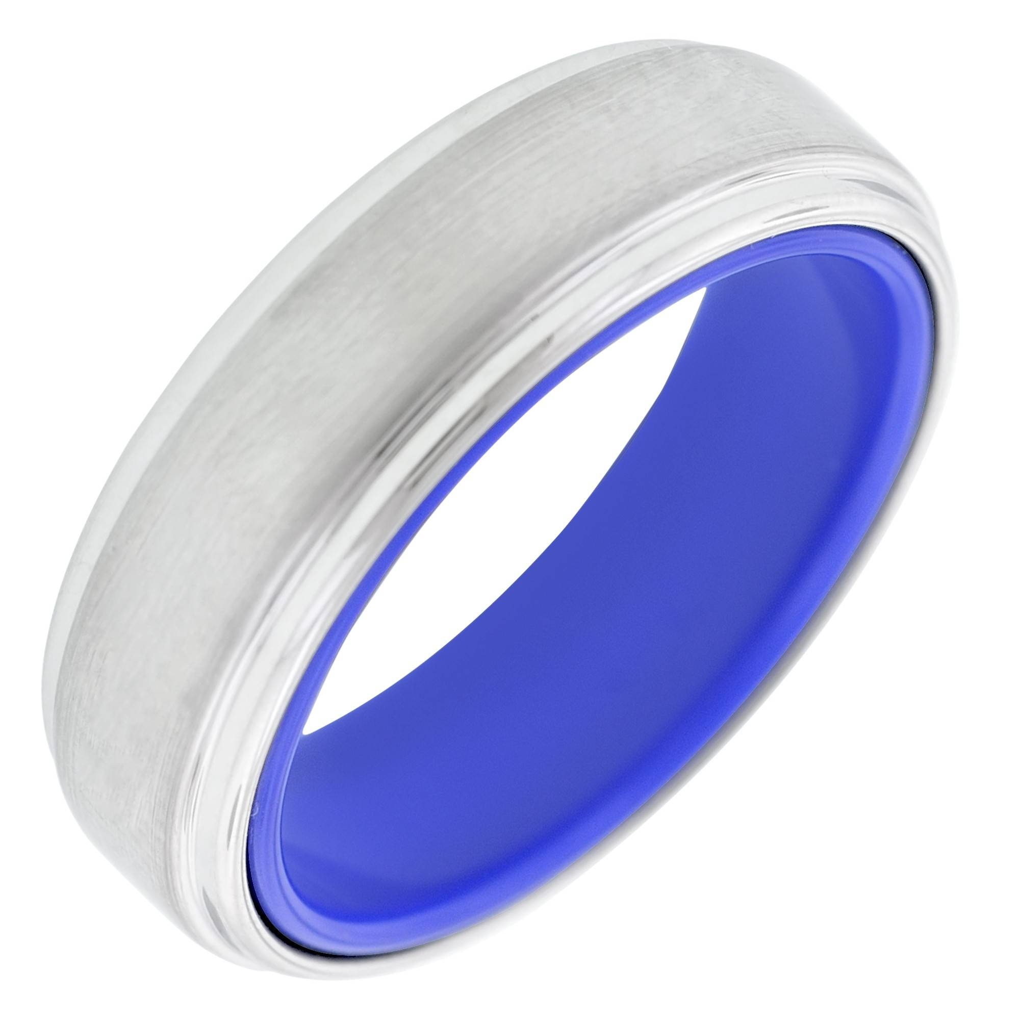 Mens Tungsten Wedding Band With Blue Inside (7Mm) Inside 7Mm Tungsten Wedding Bands (View 4 of 15)