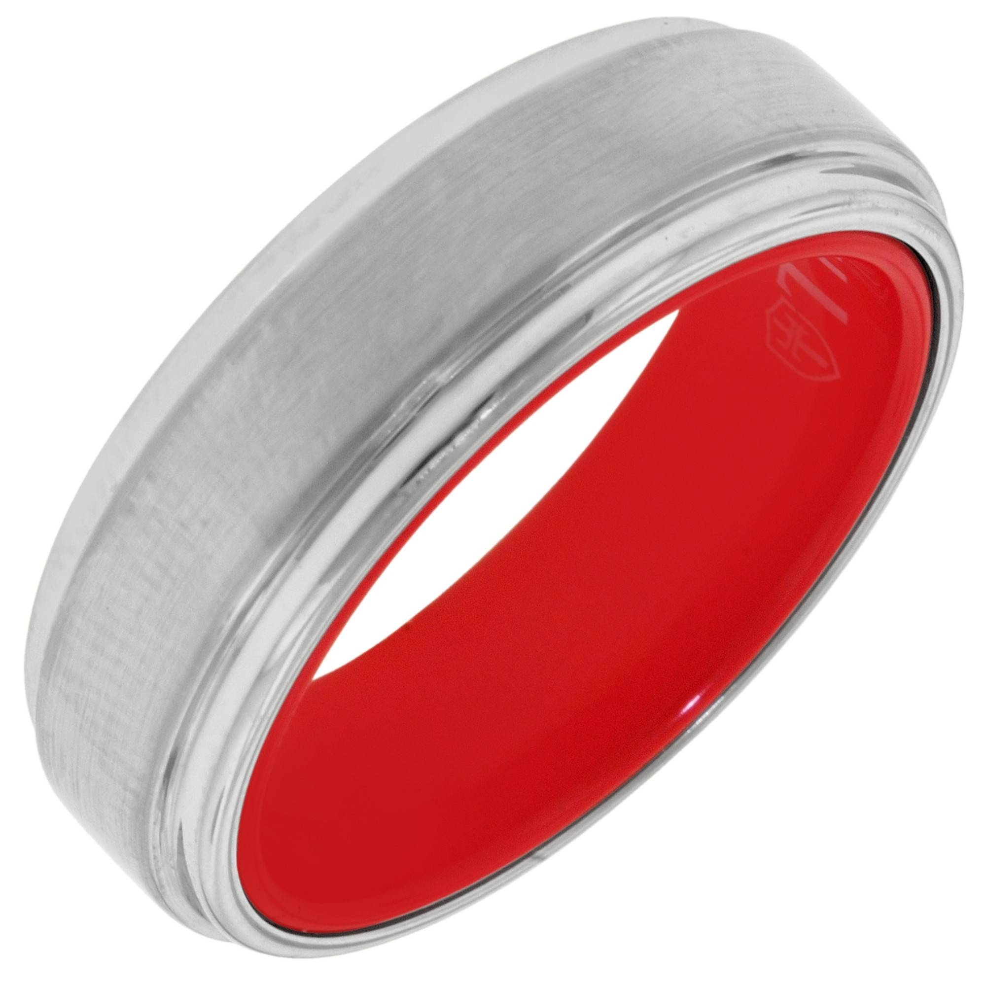 Mens Tungsten Wedding Band With Red Inside (7Mm) Within Red Men's Wedding Bands (View 7 of 15)