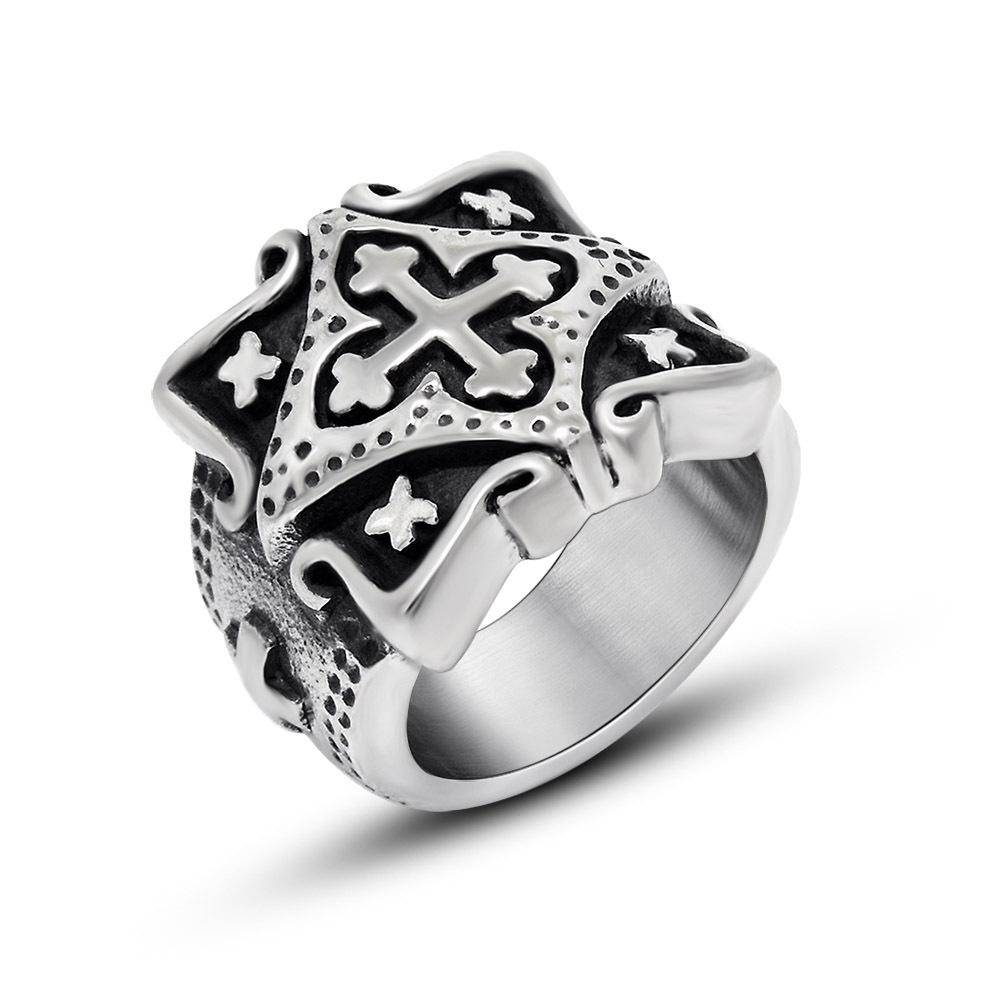 Men's Vintage Stainless Steel Band Medieval Jerusalem Crusaders With Regard To Medieval Engagement Rings (View 11 of 15)