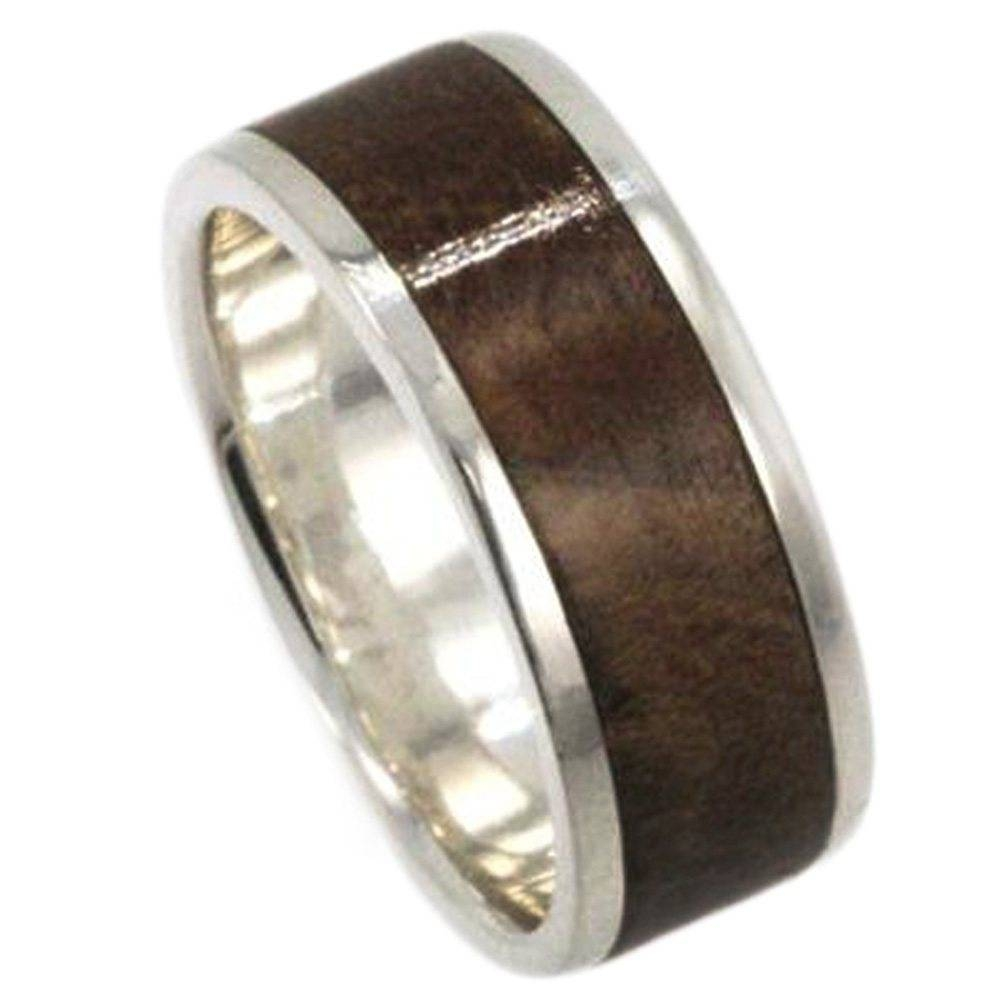 Mens Wedding Band 10K White Gold Wedding Ring, Kauri Wood Inlay Intended For Palladium Wedding Rings (View 6 of 15)
