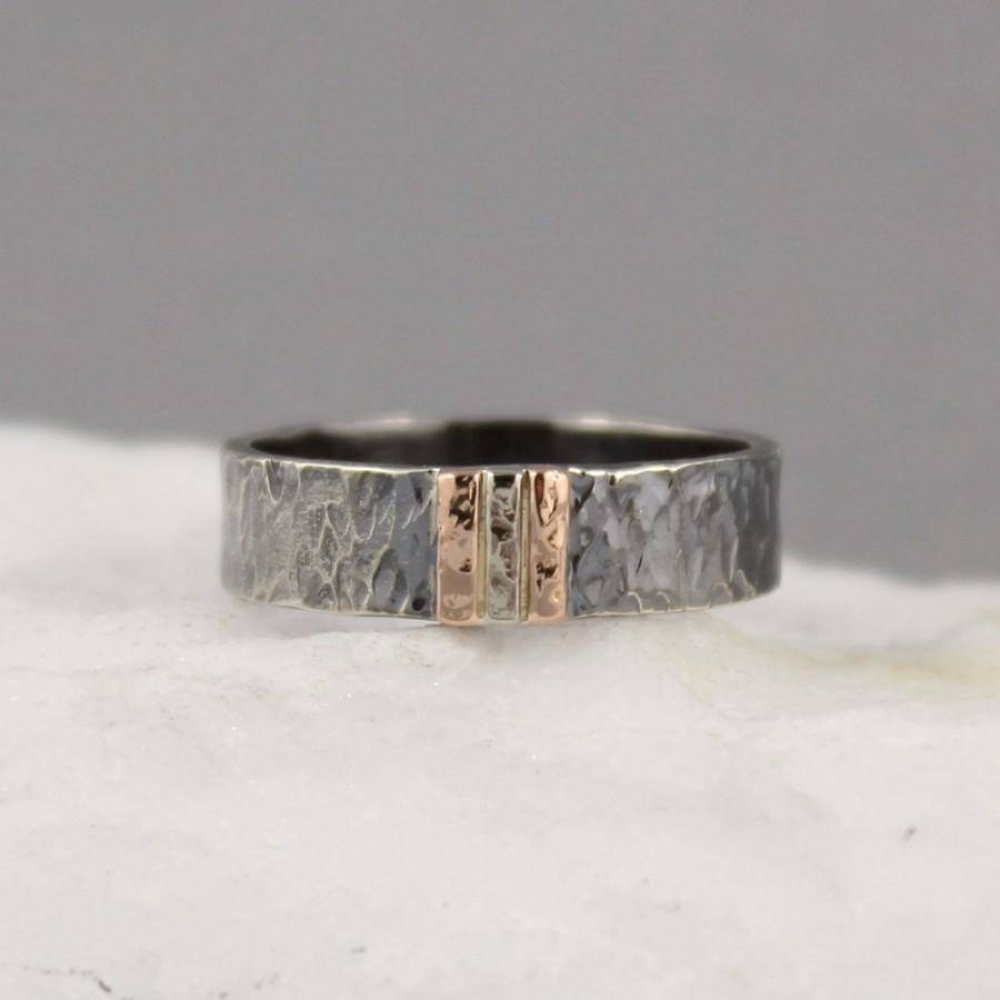 Men's Wedding Band – 14K Rose & White Gold On Black Sterling In Hammered Rose Gold Mens Wedding Bands (View 9 of 15)