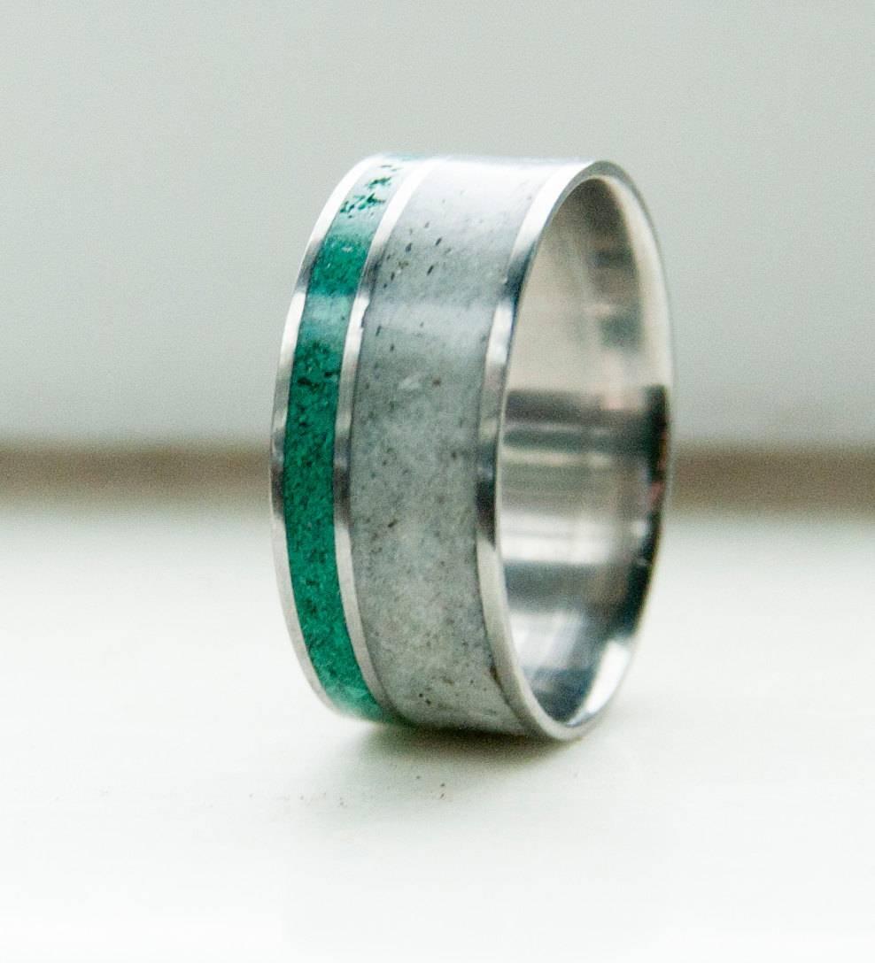 Mens Wedding Band Antler & Malachite Ring Staghead Designs Regarding Antler Wedding Bands (View 9 of 15)