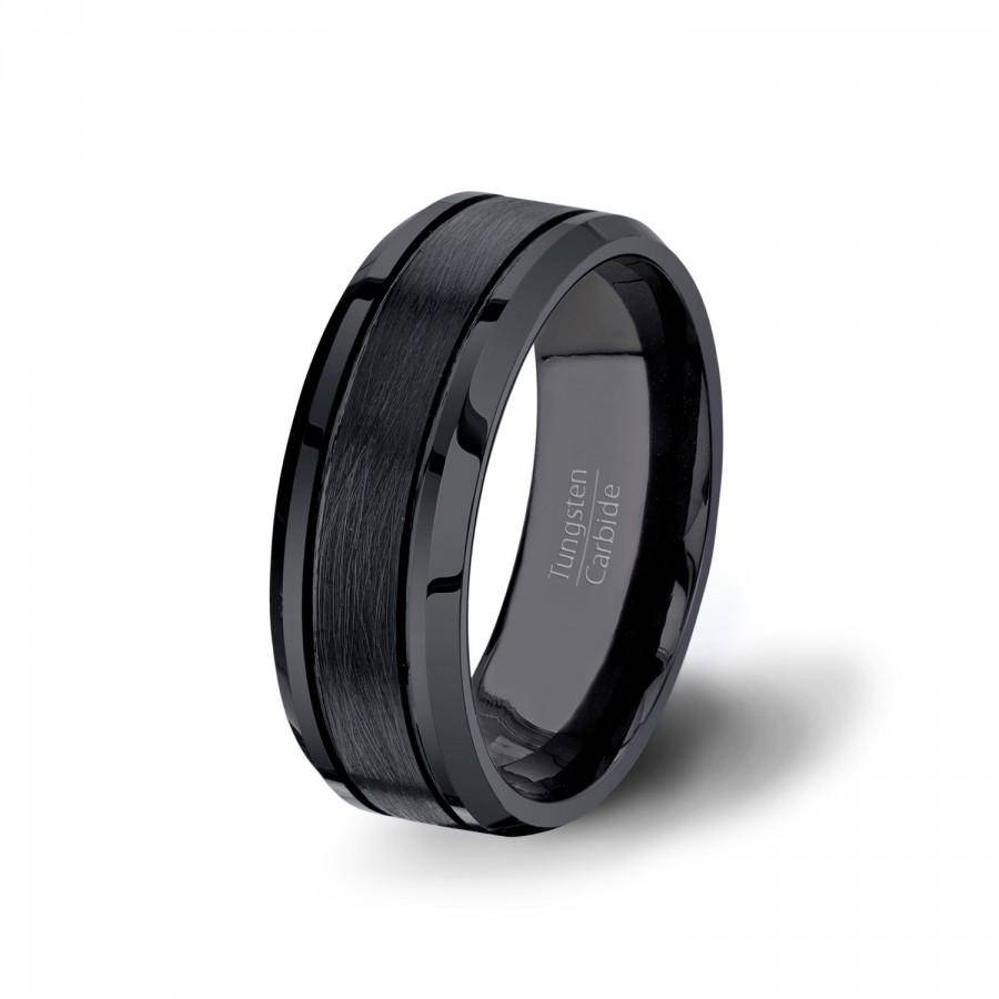 Mens Wedding Band Black Matte Brushed Surface Grooved Tungsten Intended For Matte Black Mens Wedding Bands (View 10 of 15)