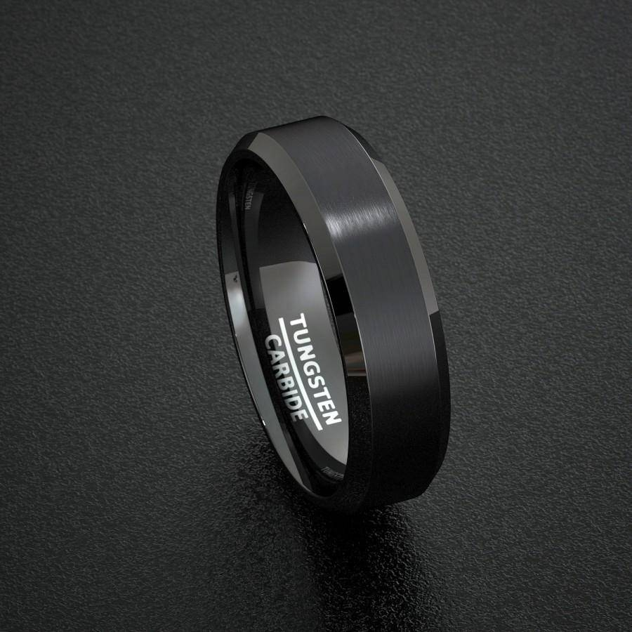 Mens Wedding Band Black Matte Surface Beveled Edge Ring Comfort For Matte Black Mens Wedding Bands (View 6 of 15)