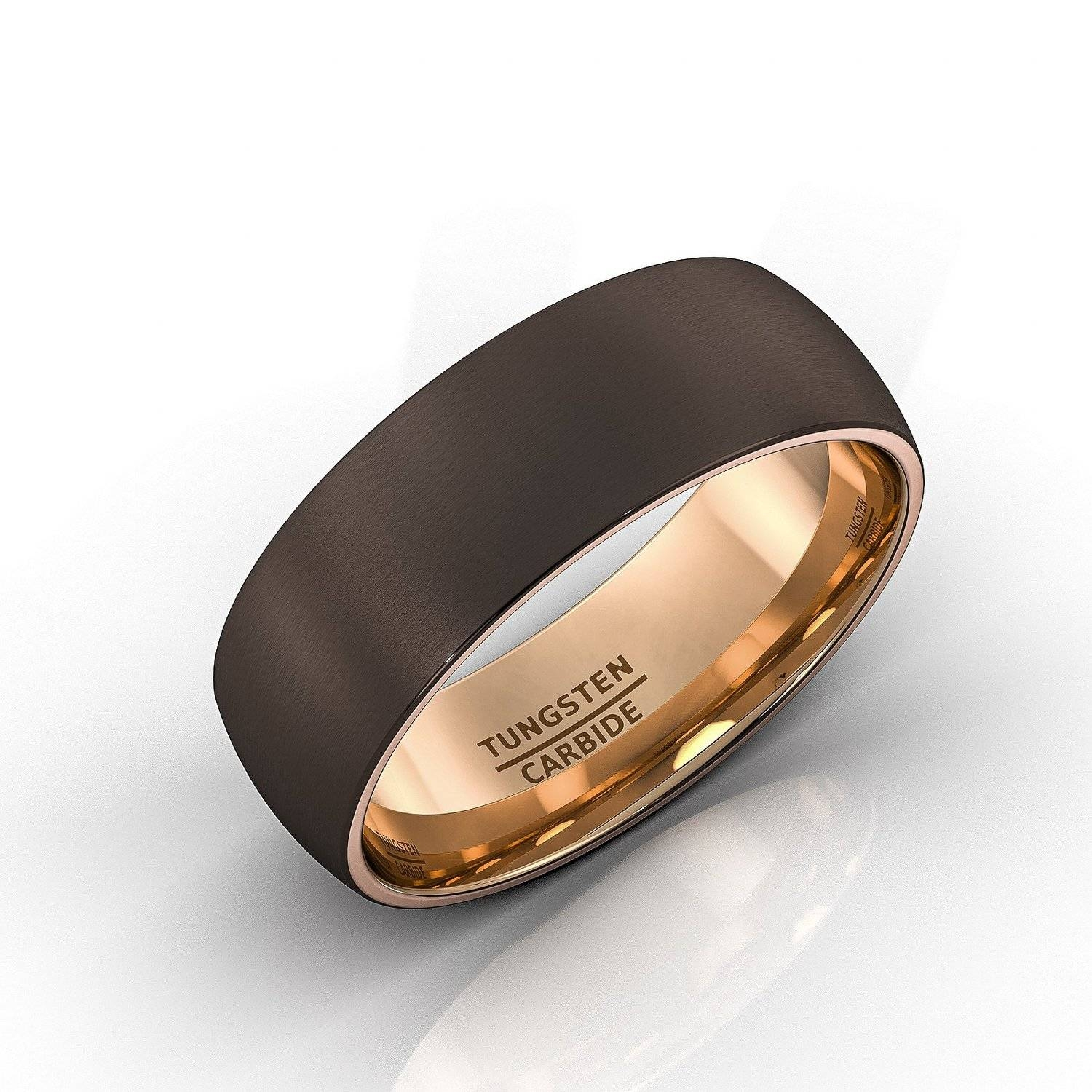 Mens Wedding Band Brown Tungsten Ring Espresso Collection Inside Inside Tungsten And Rose Gold Wedding Bands (View 9 of 15)