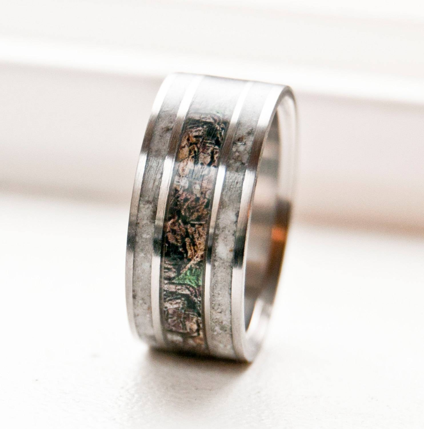 Mens Wedding Band Camo With Antler Ring Staghead Designs Throughout Men's Outdoor Wedding Bands (View 11 of 15)