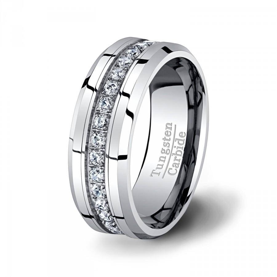 Mens Wedding Band High End Tungsten Ring Stacked Cz Diamonds 8Mm Pertaining To Men's Cz Wedding Bands (View 10 of 15)