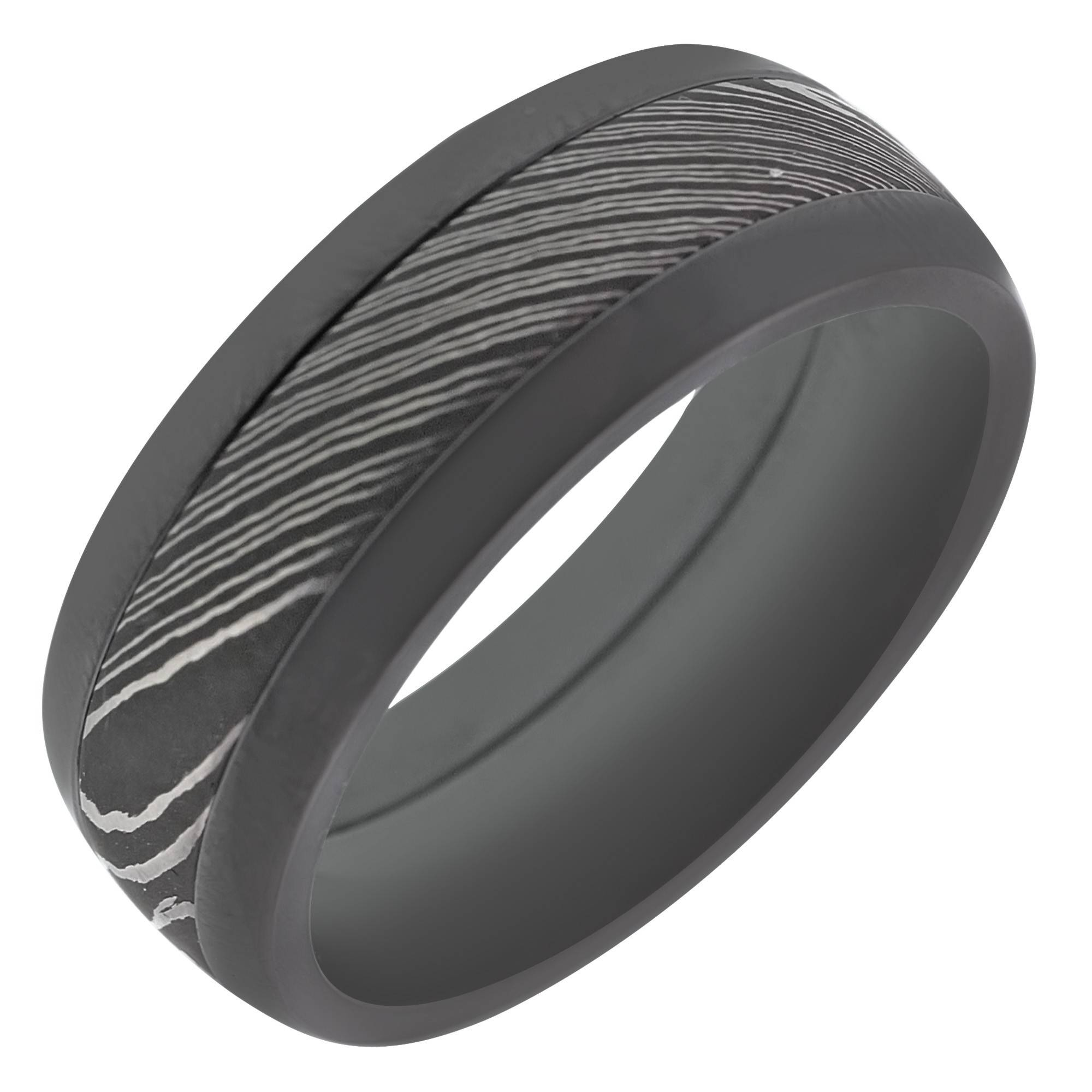 Mens Wedding Band In Black Damascus (8Mm) For Damascus Mens Wedding Bands (View 11 of 15)