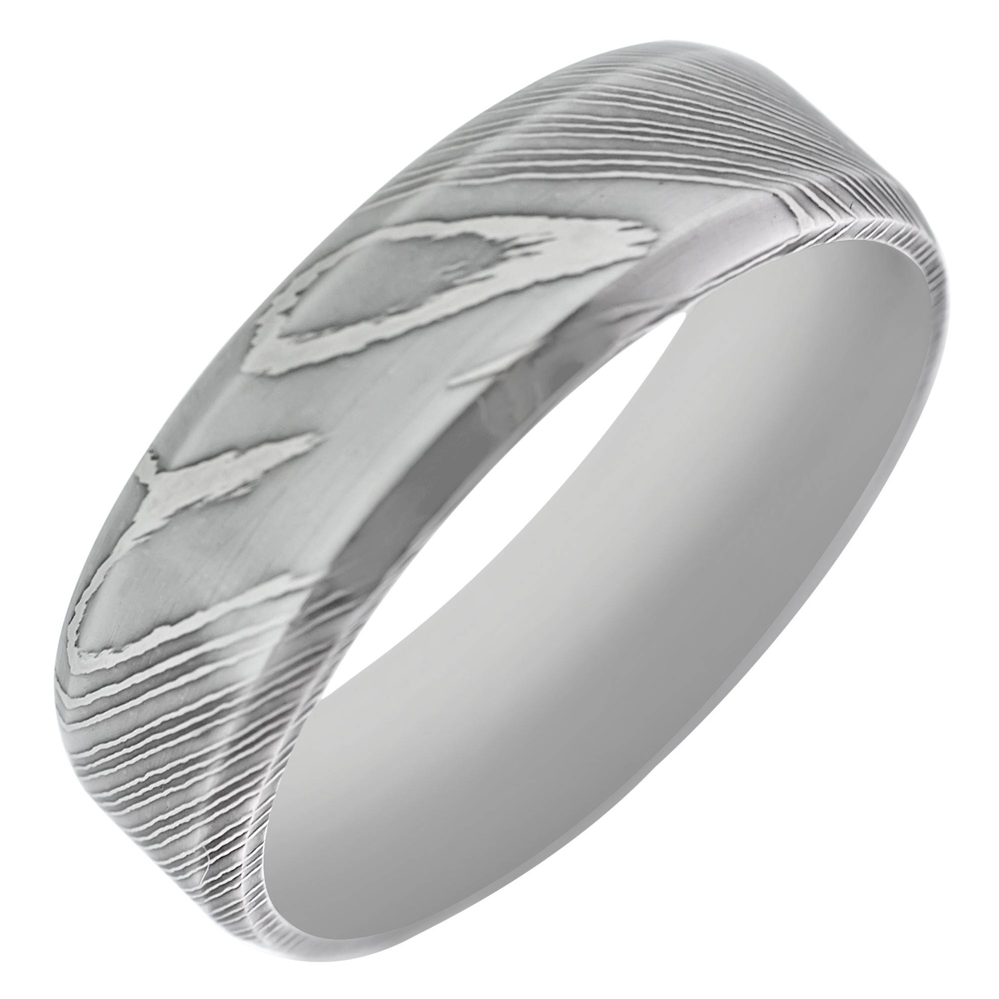 Mens Wedding Band In Damascus Steel (7mm) In Men's Damascus Wedding Bands (View 3 of 15)