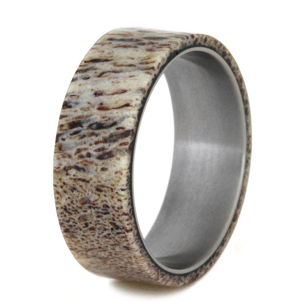 Mens Wedding Band, Natural Deer Antler Ring Over Titanium Band Throughout Mens Wedding Bands With Deer Antlers (View 2 of 15)