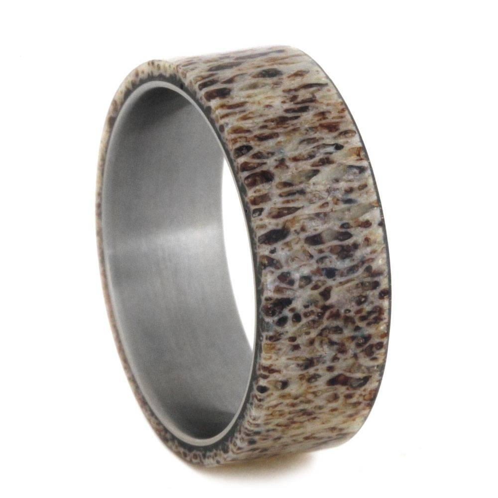 Mens Wedding Band, Natural Deer Antler Ring Over Titanium Band With Mens Wedding Bands With Deer Antlers (View 7 of 15)