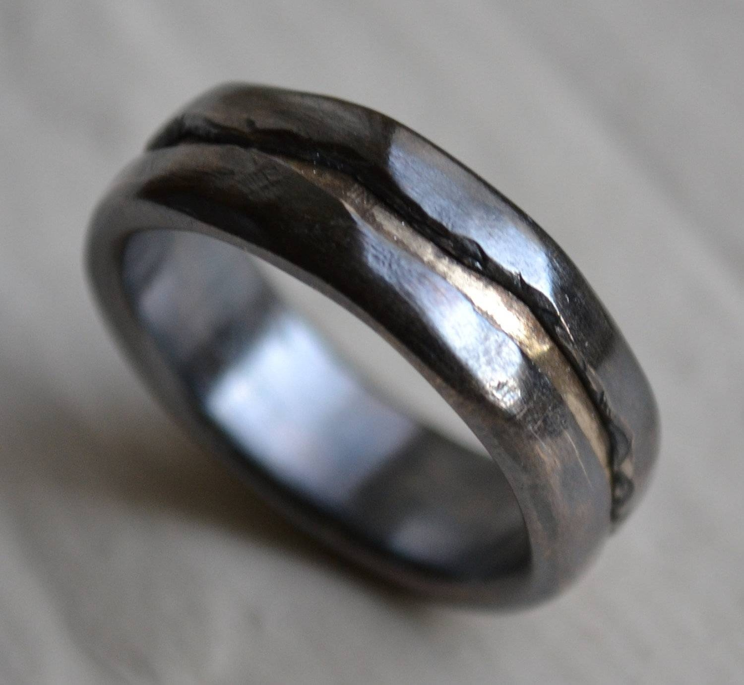 Mens Wedding Band – Rustic Fine Silver And  | Ringscollection Intended For Handmade Men's Wedding Bands (View 7 of 15)
