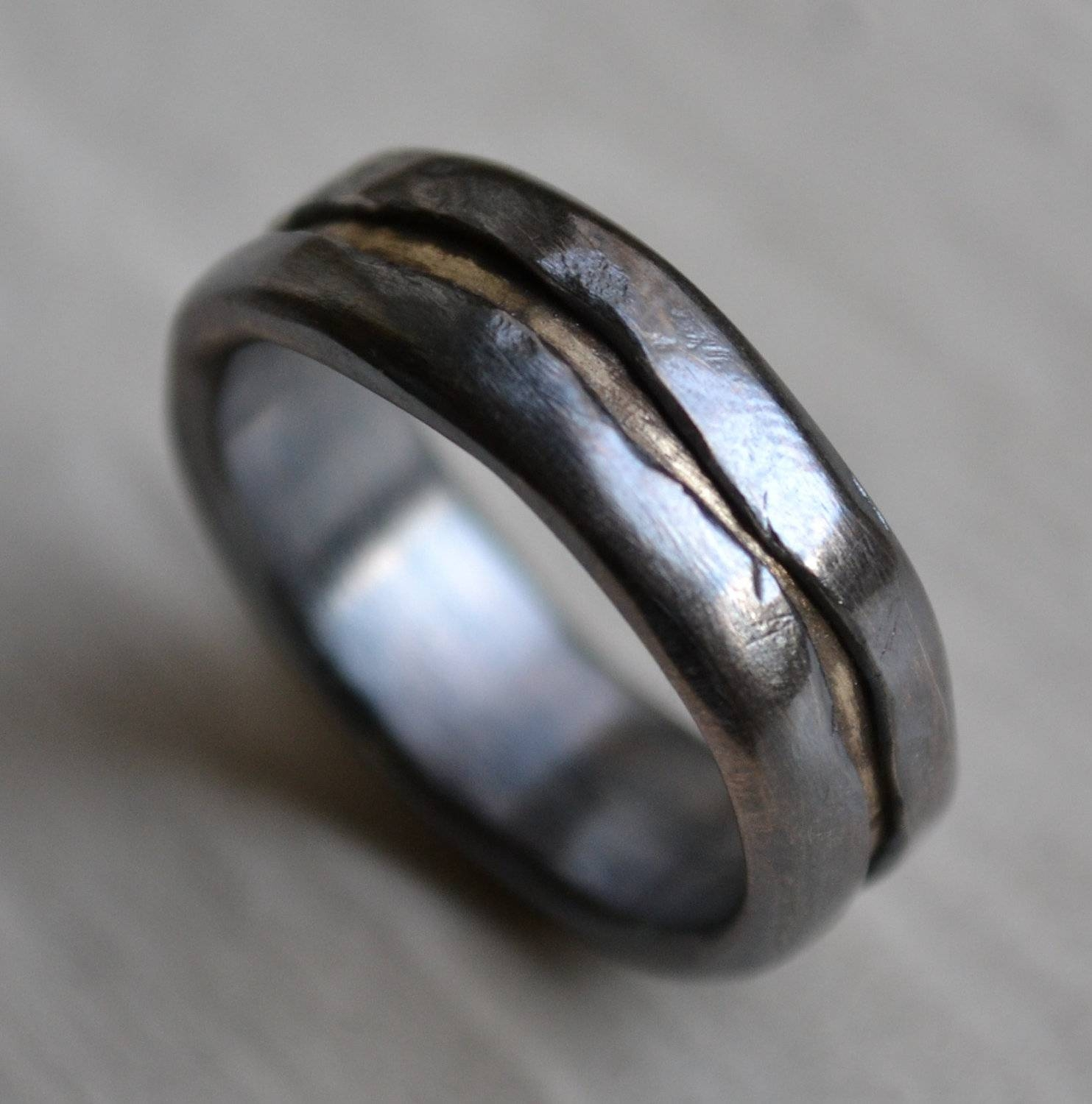 Mens Wedding Band – Rustic Fine Silver And  | Ringscollection Within Handmade Men's Wedding Bands (View 8 of 15)