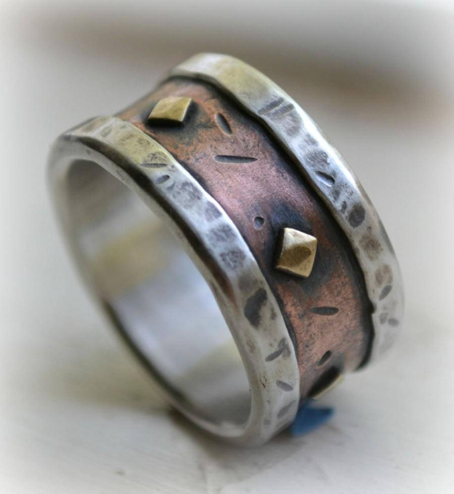 Mens Wedding Band – Rustic Fine Silver Copper And Brass – Handmade Inside Copper Men's Wedding Bands (View 7 of 15)
