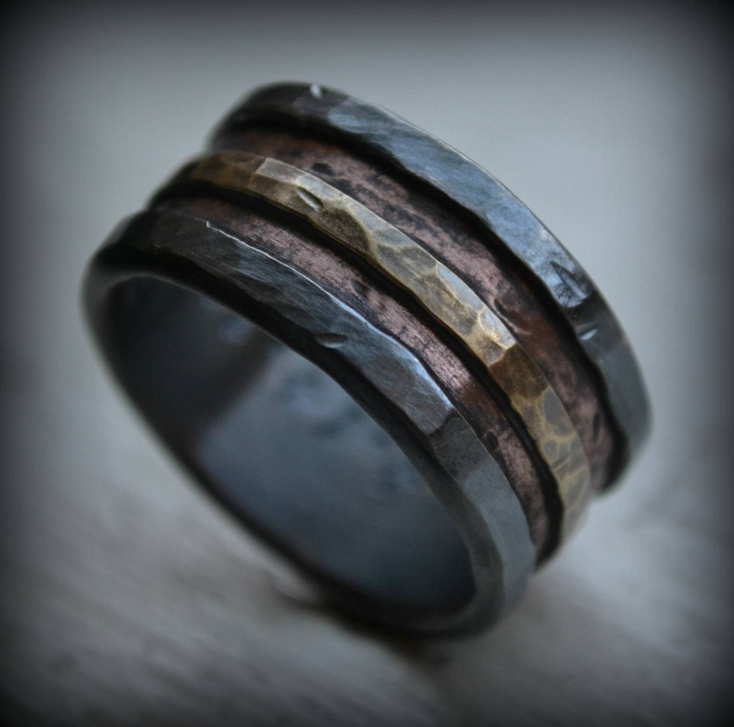 Mens Wedding Band Rustic Fine Silver Copper And Brass In Manly Wedding Bands (View 11 of 15)