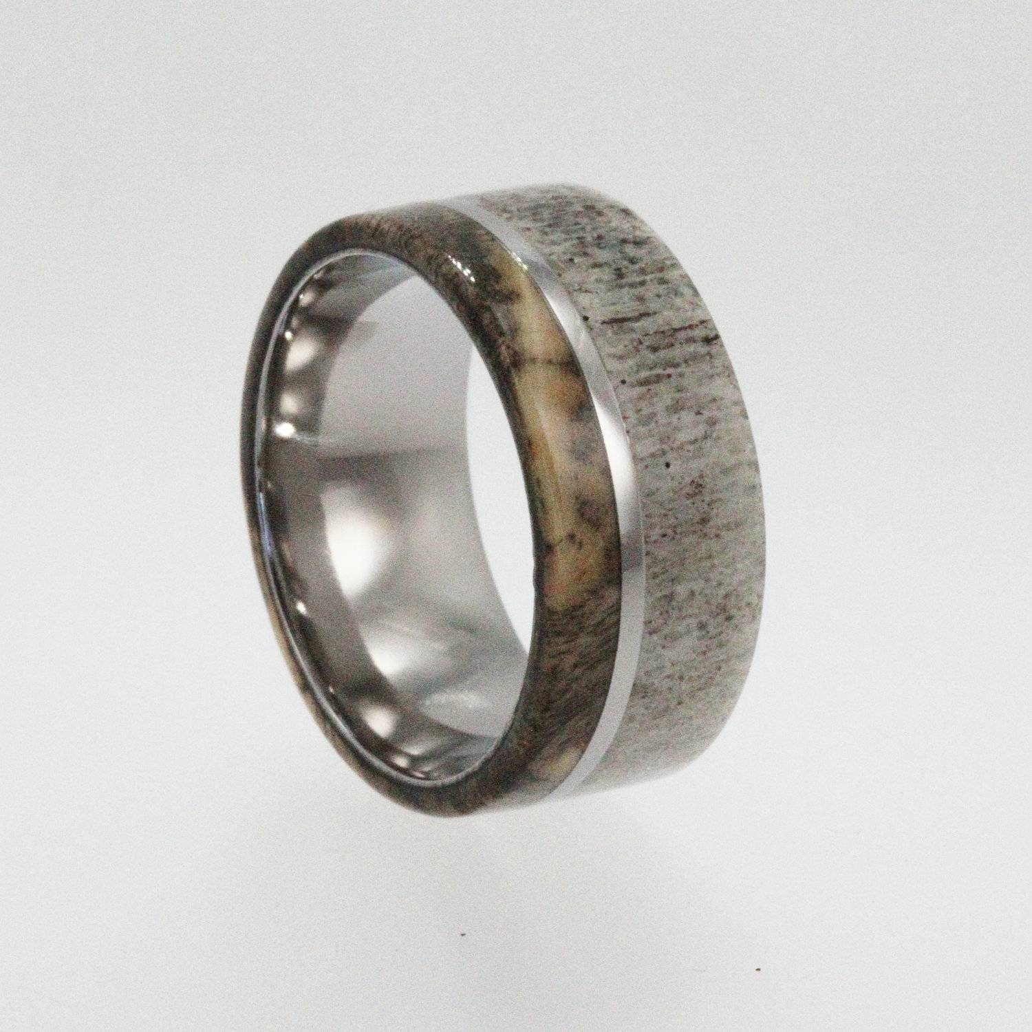 Mens Wedding Band, Titanium Ring, Buck Eye Burl  | Ringscollection Regarding Mens Wedding Bands With Deer Antlers (View 8 of 15)