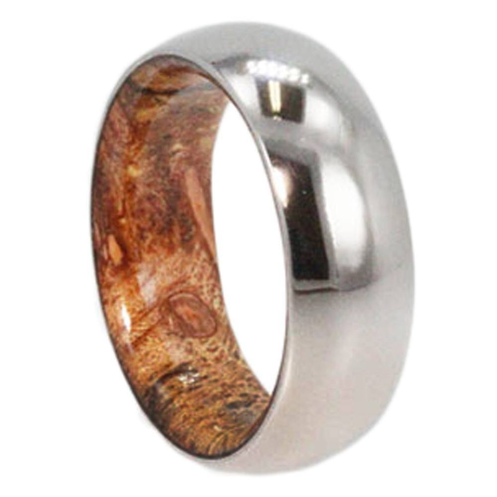 Mens Wedding Band, Titanium Ring With Inner Exotic Wood Sleeve For Wood And Metal Wedding Bands (View 8 of 15)