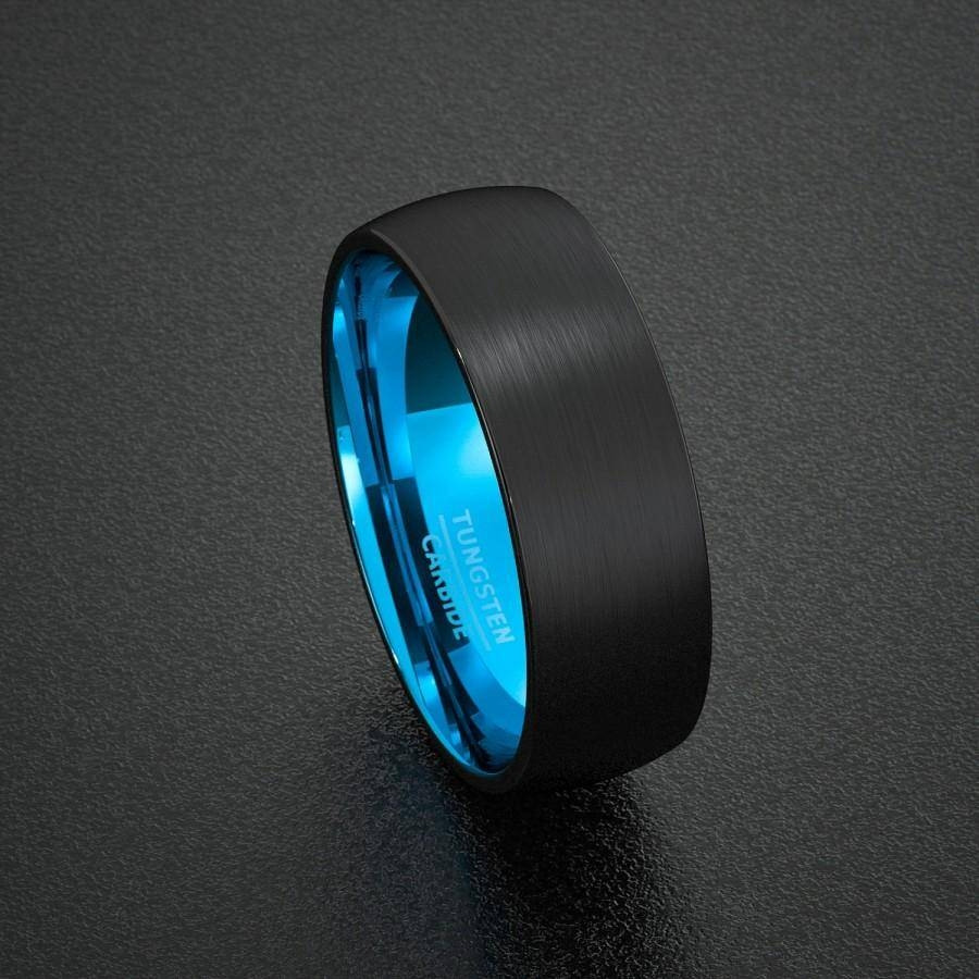 Mens Wedding Band Tungsten Ring Two Tone 8Mm Black Brushed Dome With Regard To Men's Black And Blue Wedding Bands (View 10 of 15)
