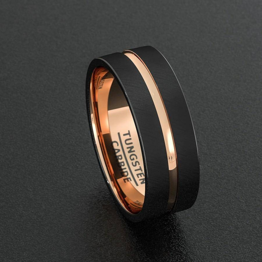 Photo Gallery Of Black And Rose Gold Men S Wedding Bands