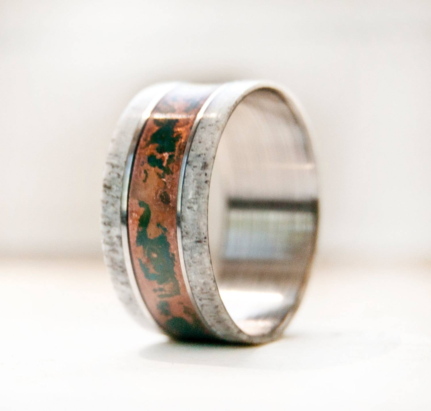 Mens Wedding Band W/ Antler And Patina Copper Ring Staghead For Copper Men's Wedding Bands (View 12 of 15)