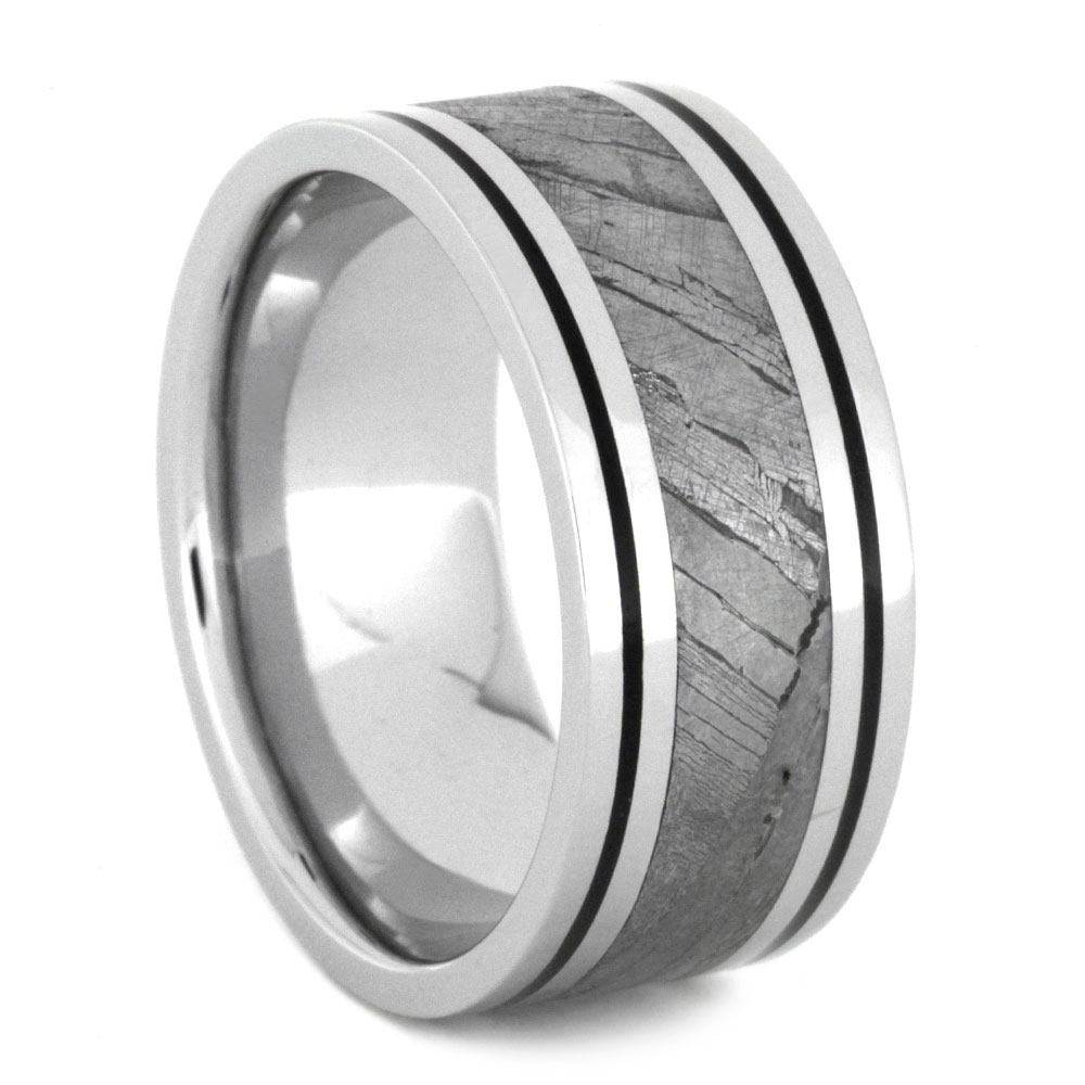 Mens Wedding Band With Black Enamel And Seymchan Meteorite Intended For Men's Wedding Bands Meteorite (View 3 of 15)