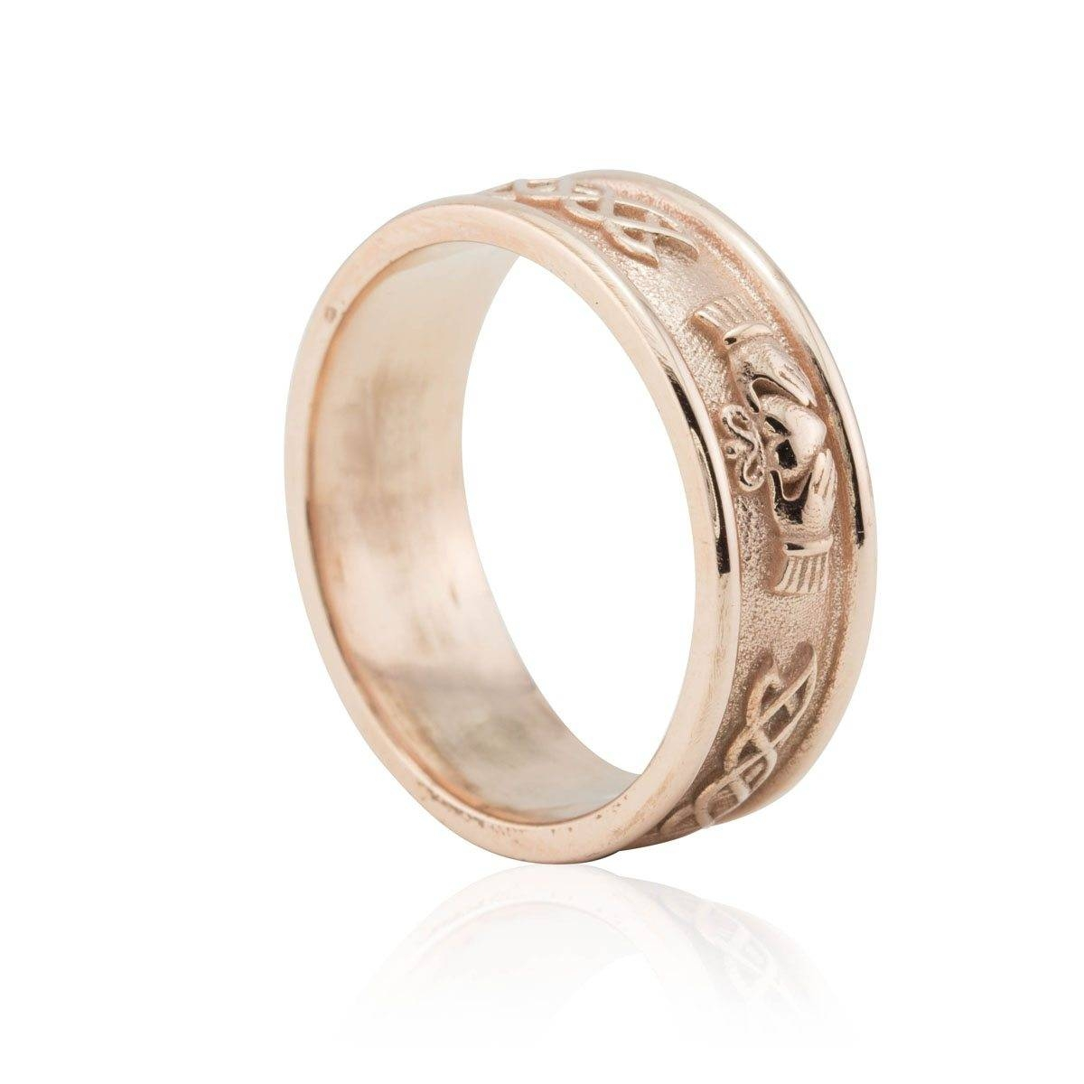 Men's Wedding Band With Irish Claddagh In 14k Rose Gold 8mm Wide Intended For Men's Claddagh Wedding Bands (View 5 of 10)