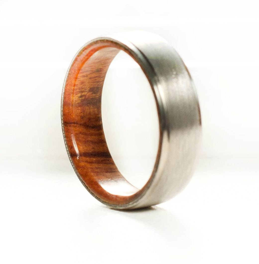 Mens Wedding Band Wood Lined Ring Staghead Designs With Regard To Wood And Metal Wedding Bands (View 10 of 15)