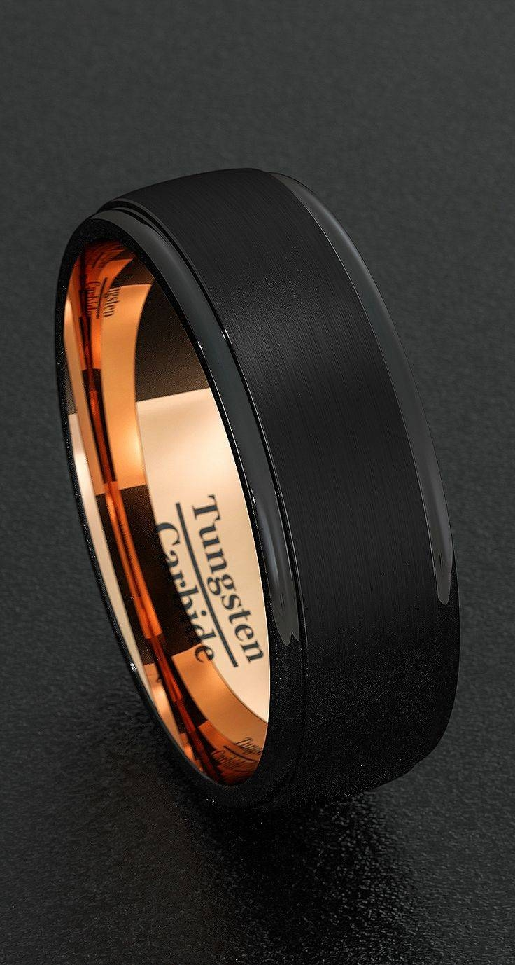 Mens Wedding Bands 8mm Tungsten Rings Black Brushed Step Edge Rose With Regard To Matte Black Mens Wedding Bands (View 15 of 15)