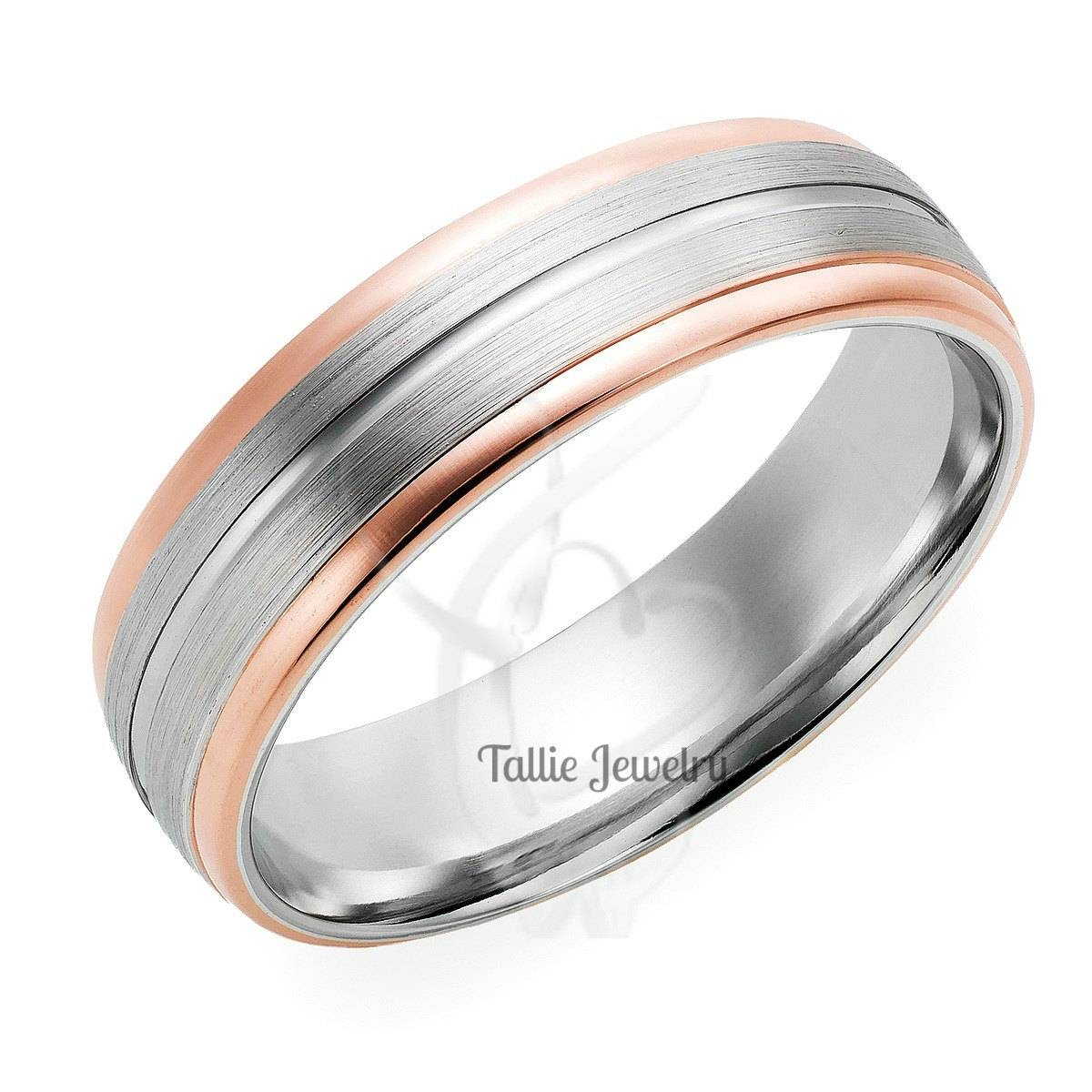 Mens Wedding Rings,14k Gold Two Tone Wedding Rings,womens Wedding With Men's And Women's Matching Wedding Bands (View 14 of 15)