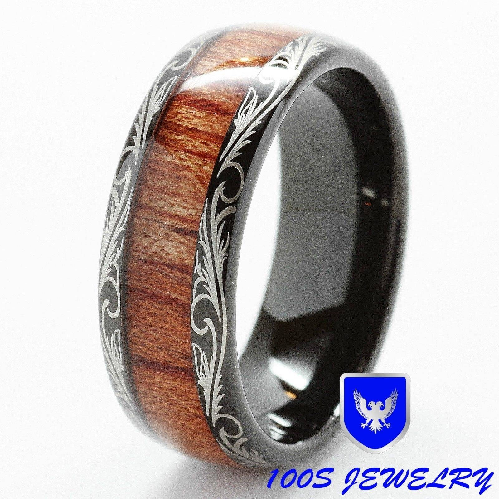 Mens Women Wedding Band Black Tungsten Ring Koa Wood Inlay Comfort With Men's Wedding Bands Size  (View 6 of 15)