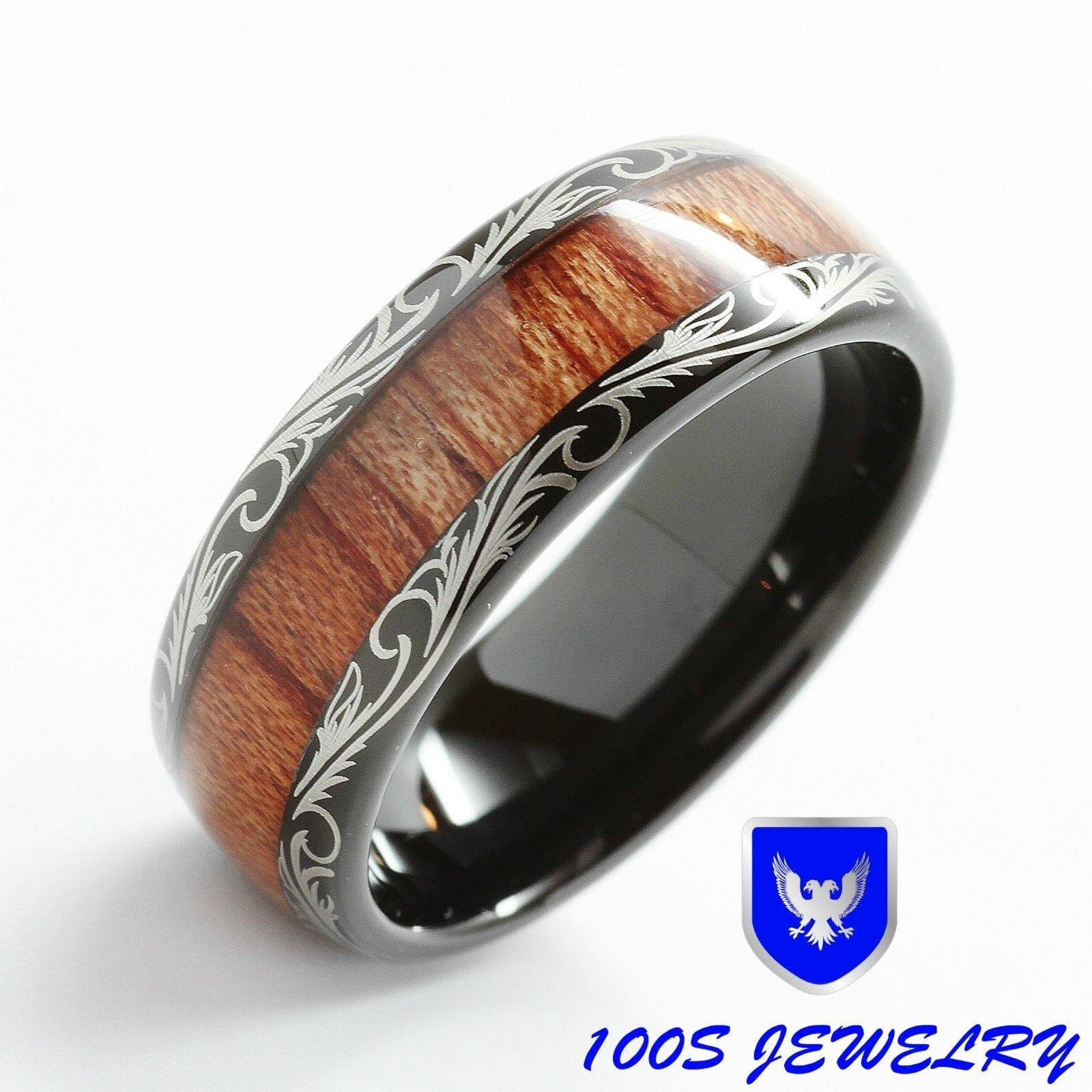 Mens Women Wedding Band Black Tungsten Ring Koa Wood Inlay Comfort Within Tungsten Wedding Bands With Wood Inlay (View 10 of 15)