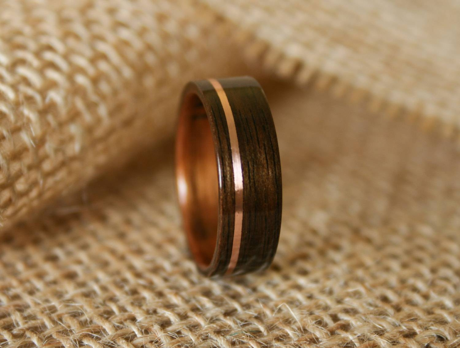 Men's Wooden Wedding Band With 14k Rose Gold Inlay In With Wood Inlay Men's Wedding Bands (View 14 of 15)