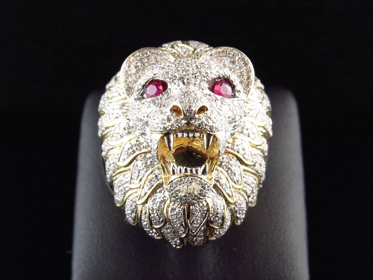 Men's Xl 10K Yellow Gold 3D Lion Face Genuine Diamond Pinky Ring Throughout Lion Engagement Rings (View 8 of 15)
