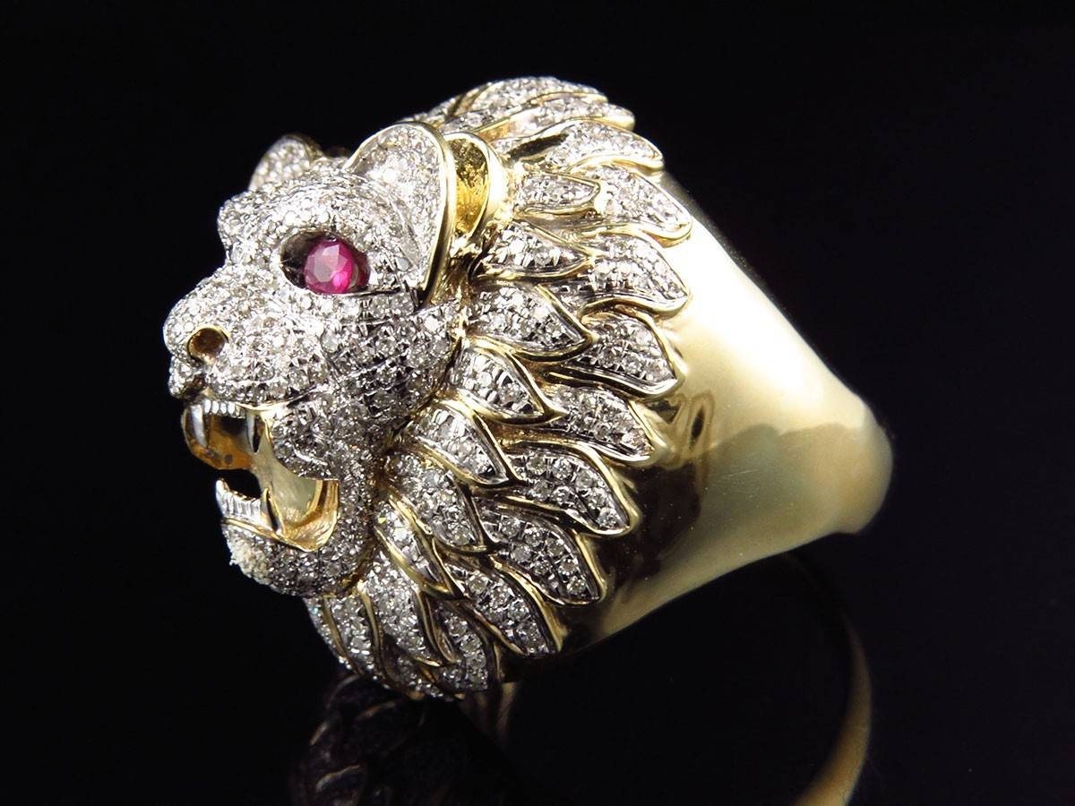 Men's Xl 10K Yellow Gold 3D Lion Face Genuine Diamond Pinky Ring Throughout Lion Engagement Rings (View 7 of 15)