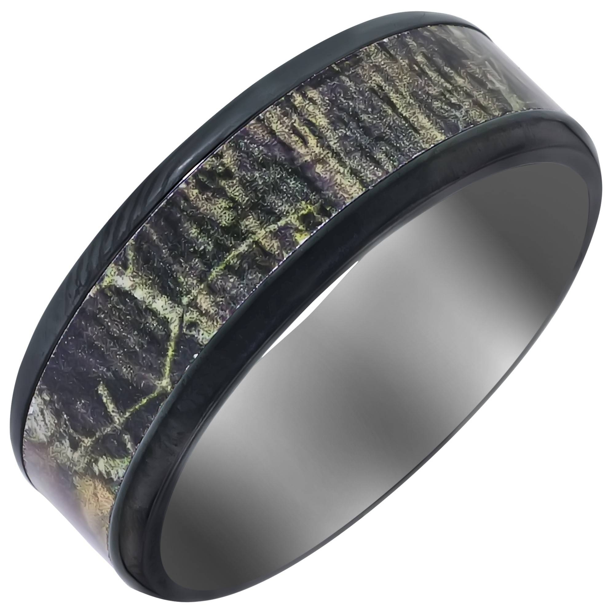 Mens Zirconium Mossyoak Camo Wedding Band (8Mm) Inside Camo Wedding Bands (Gallery 3 of 15)
