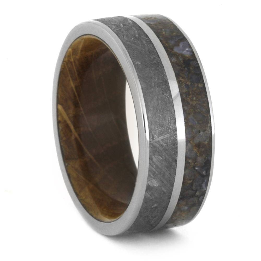 Meteorite Ring, Dinosaur Bone Wedding Band With Whiskey Barrel Sleeve For Dinosaur Bone Engagement Rings (View 5 of 15)