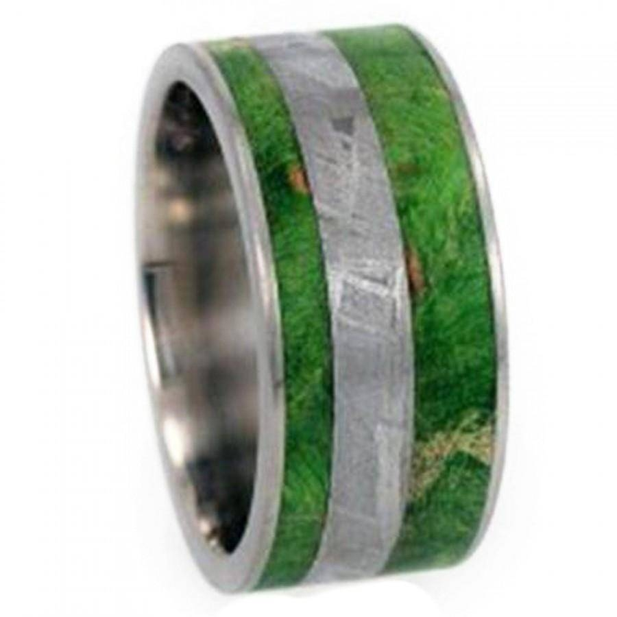 Meteorite Ring, Mens Wood Wedding Band, Titanium Ring With Green Within Men's Wedding Bands Meteorite (View 7 of 15)